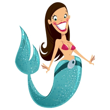 le topic du sosie 20724073-beautiful-happy-smiling-sexy-brunette-cartoon-mermaid-with-turquoise-fish-tail