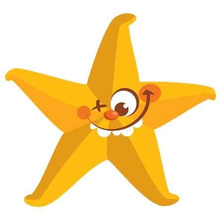 estrella de mar: Feliz loca amarilla cara sonriente estrella de mar del diente con un ojo cerrado Vectores