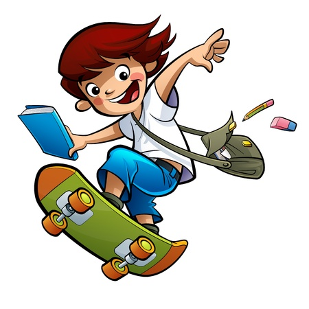 free clip art: Excited happy smiling pupil boy going to school skating fast jumping high