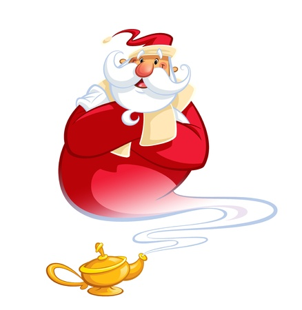 genie: Happy smiling cartoon Santa Claus coming excited out of a magic oil lamp making a genie gesture