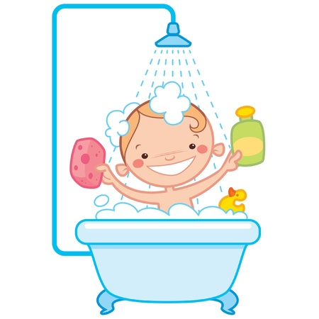 Happy cartoon baby kid having bath in a bathtub holding a shampoo bottle and a scrubber and having a rubber duck toy