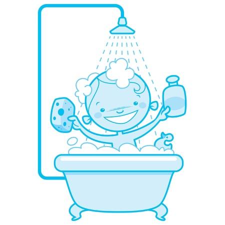 scrubber: Blue version of a happy cartoon baby kid having bath in a bathtub holding a shampoo bottle and a scrubber and having a rubber duck toy