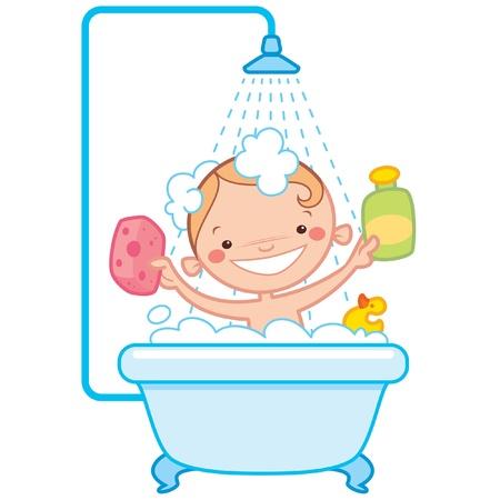 Heureux bébé de bande dessinée prenant son bain dans une baignoire, tenant une bouteille de shampoing et un récureur et ayant un jouet de canard en caoutchouc