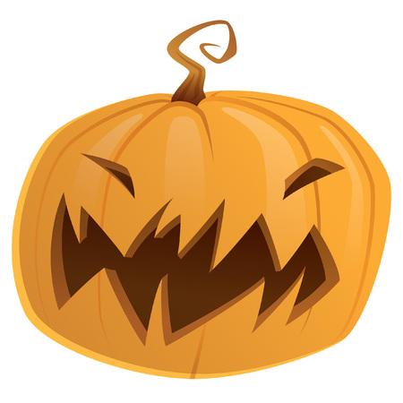 calabaza caricatura: Halloween de miedo truco naranja calabaza de dibujos animados de color amarillo o tratar aislado
