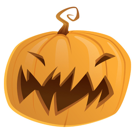 Halloween scary orange yellow cartoon pumpkin trick or treat isolated Vector