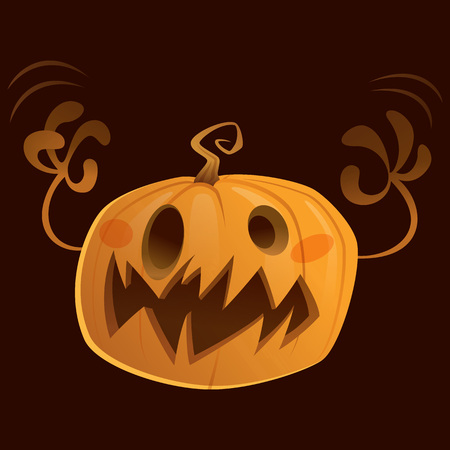 treating: Halloween scary cartoon character pumpkin trick or treating in dark background Stock Photo