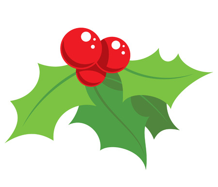 holly leaves: Cartoon simple mistletoe decorative red and green ornament