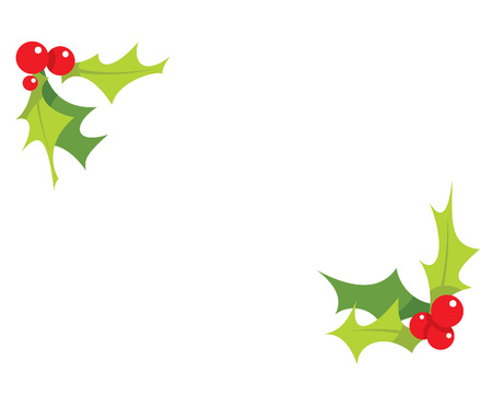 christmas holly: Cartoon simple mistletoes decorative red and green ornaments  Illustration