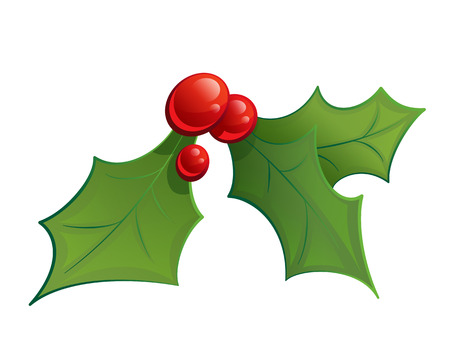christmas holly: Cartoon mistletoe shinny decorative red and green ornament