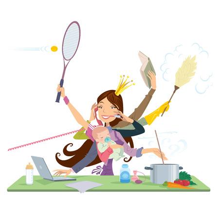 mujeres trabajando: Madre ocupada haciendo muchas tareas al mismo tiempo de cocción lectura de limpieza trabajando y hablando por teléfono