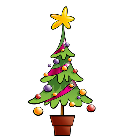 cartoon christmas tree: Christmas colourful pine tree decorated with ornaments and a big star in a pot Stock Photo