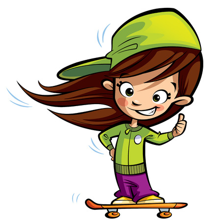 Happy cute girl with long hair on an orange skateboard making a thumbs up gesture Stock Photo