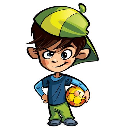 Stoute jongen met een pet die een voetbal