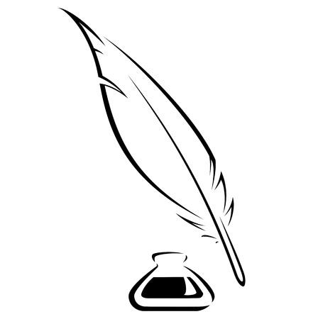 Einfache Feder und Tintenfass schwarz Vektor-Bild Standard-Bild - 23292852