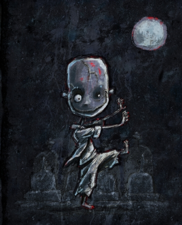 scaring: Cute little cartoon zombie walking in a graveyard in the moonlight