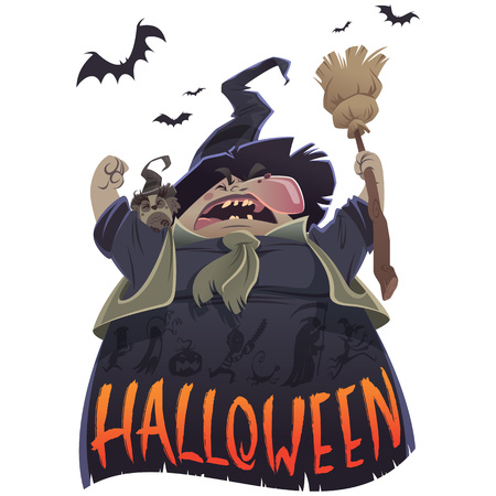 Halloween text and cartoon scary witch with broom and owl yelling Stock Photo
