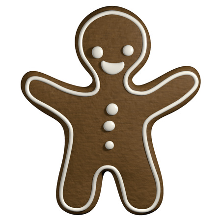 christmas cookie: Gingerbread 3D cartoon christmas man shape cookie frosting decorated Stock Photo