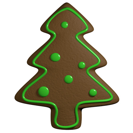 Cartoon christmas ginger bread in pine tree shape and candy ornaments photo