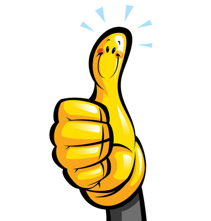 Thumbs up smiling yellow cartoon glove character in a hand 스톡 콘텐츠