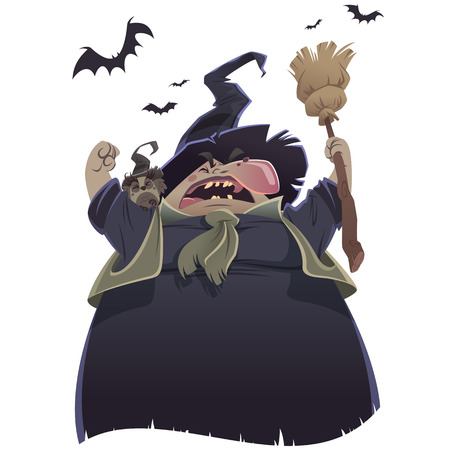 Cartoon scary witch with broom and owl yelling