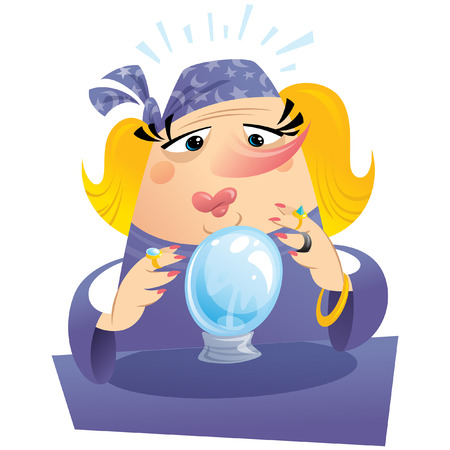 Witch gypsy clairvoyant looking to a crystal sphere telling fate and destiny