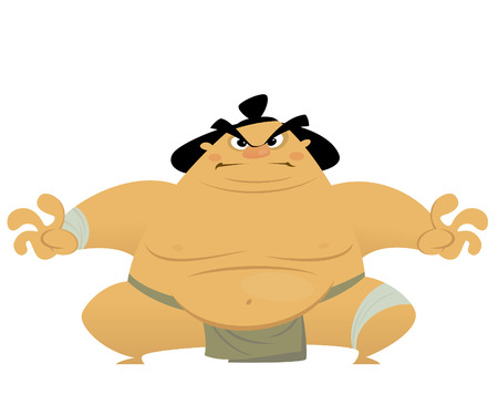 Huge cartoon angry sumo wrestler ready to fight Vector