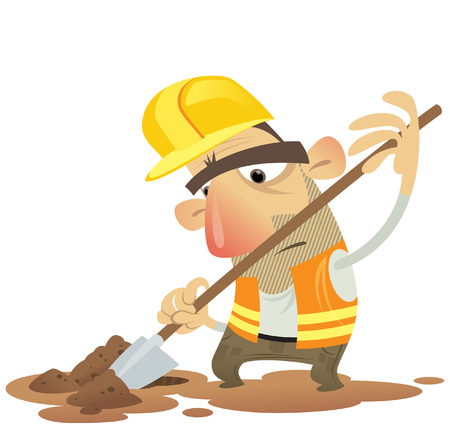 Under construction building man shovel wearing helmet and dig ground Vector