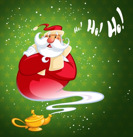 aladdin: Happy laughing cartoon Santa Claus coming excited out of magic oil lamp making genie gesture in green background with stars