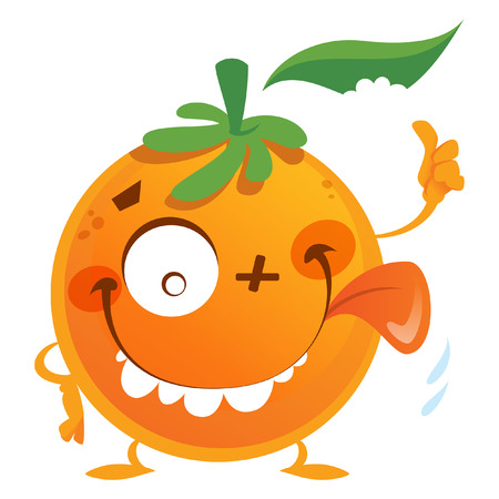 Crazy cartoon orange fruit character with green leaf making a face with tongue and thumb up gesture
