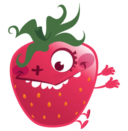 Cartoon pink red strawberry fruit character jumping making a gesture crazy face Vector