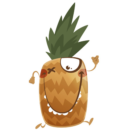 exotic fruit: Crazy cartoon brown pineapple fruit character with arms legs and funny teeth running
