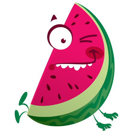 Cartoon pink red watermelon fruit character jumping making a crazy face