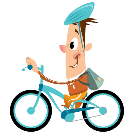 Funny cartoon happy boy with big smile and backpack and hat having a ride with his blue bicycle