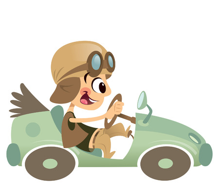 Funny cartoon happy boy with big smile and hat having a ride with his green antique vintage car Ilustracja