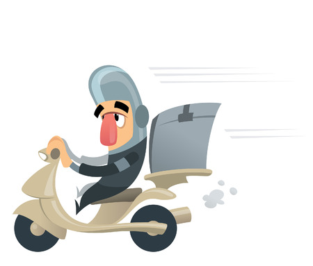 delivering: Funny courrier character with helmet delivering mail packages or food with his motorbike casing Illustration