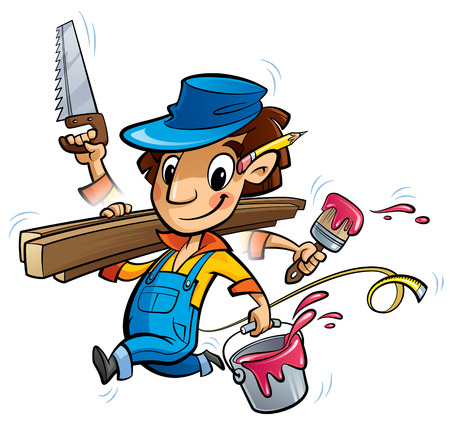 simultaneously: Cartoon man worker in blue uniform and hat doing simultaneously many jobs holding brush paint bucket woods and saw