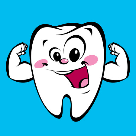 sweet tooth: Cartoon funny tooth character showing how happy strong clear and without plaque it is