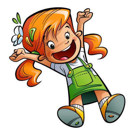 outstretched: Happy cute cartoon orange hair girl jumping happily spreading arms and legs wearing  a green dress and flower Stock Photo