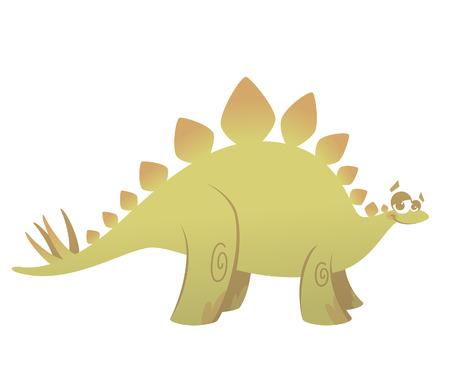 prehistory: Cartoon funny green stegosaurus dinosaur smiling funny
