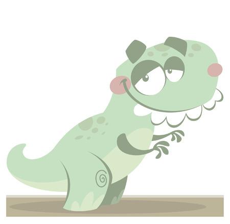 t rex: Cartoon grappig groen vector T Rex dinosaurus reptiel met grappige tanden