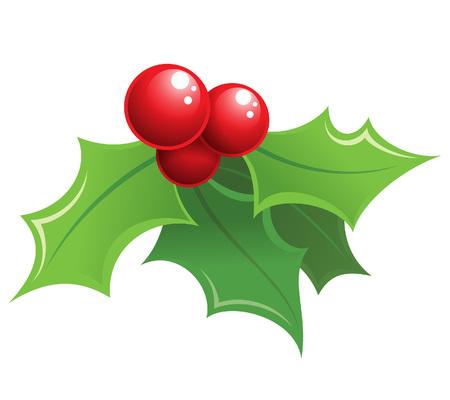 christmas holly: Cartoon shiny Christmas mistletoe decorative red and green ornament  Illustration