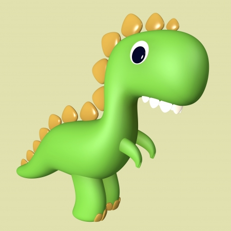 Cartoon funny green 3D T Rex dinosaur reptile with funny teeth photo