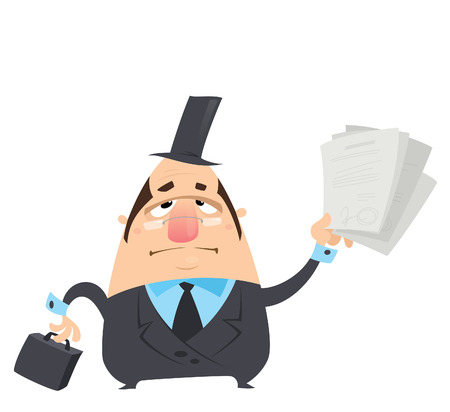 dagvaarding: Cartoon ernstige vet advocaat man in zwart pak bril en hoed houdt in grappige manier een aktetas en het leveren roepen Stock Illustratie