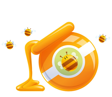 Cartoon natural honey in pot and happy hive flying around Illustration