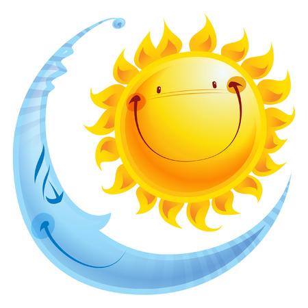 Stralende gele lachende zon en slapen blauwe maan stripfiguur een evenwicht harmonie icoon van dag en nacht