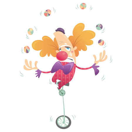 Cartoon unhappy clown with tears juggling and crying in one wheel old bicycle Vector
