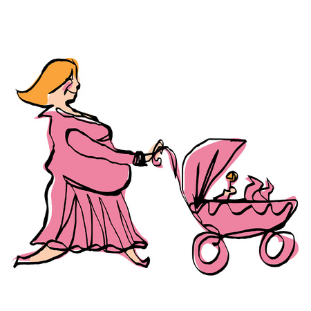 Happy pregnant woman in pink dress take a walk while pushing baby girly carriage Vector