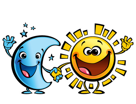 buonanotte: Brillante gialli sorridente sole e luna blu personaggi dei cartoni animati un'immagine felice concetto di giorno di notte Vettoriali