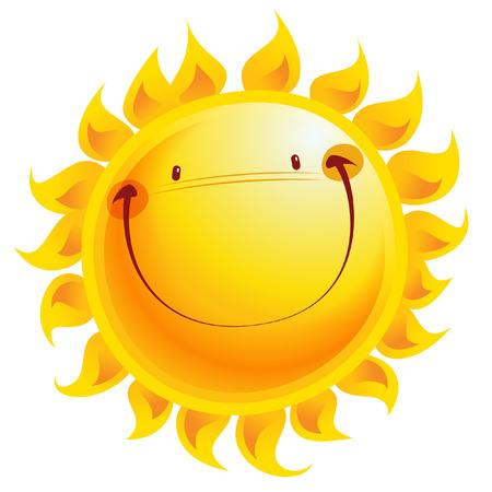 Stralende gele lachende zon stripfiguur als weer teken temperatuur
