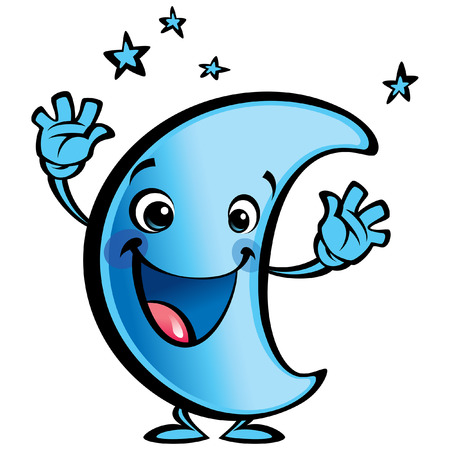 Blue moon cartoon character making a good night gesture